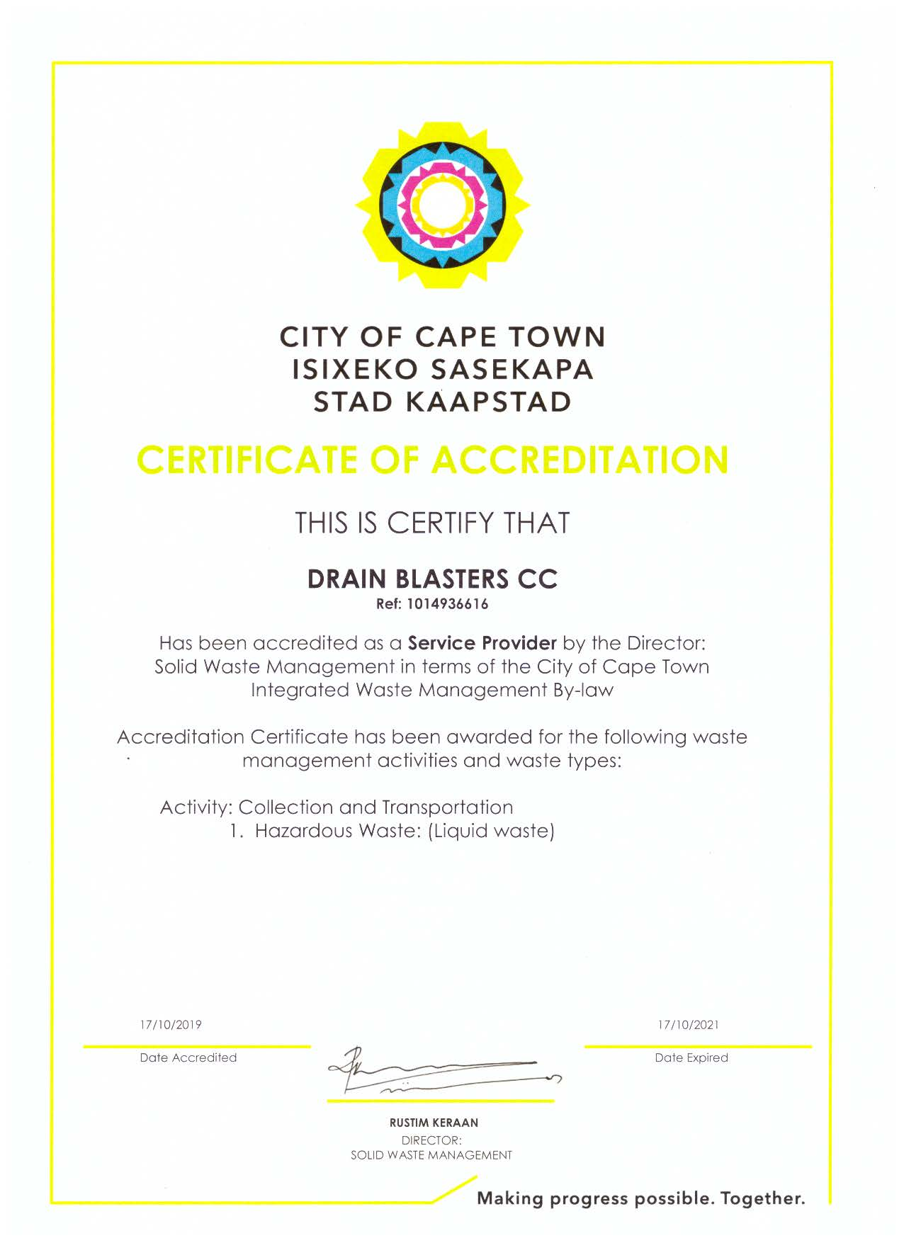 Drain Blasters is a licensed Liquid Waste Transporter with the City of Cape Town